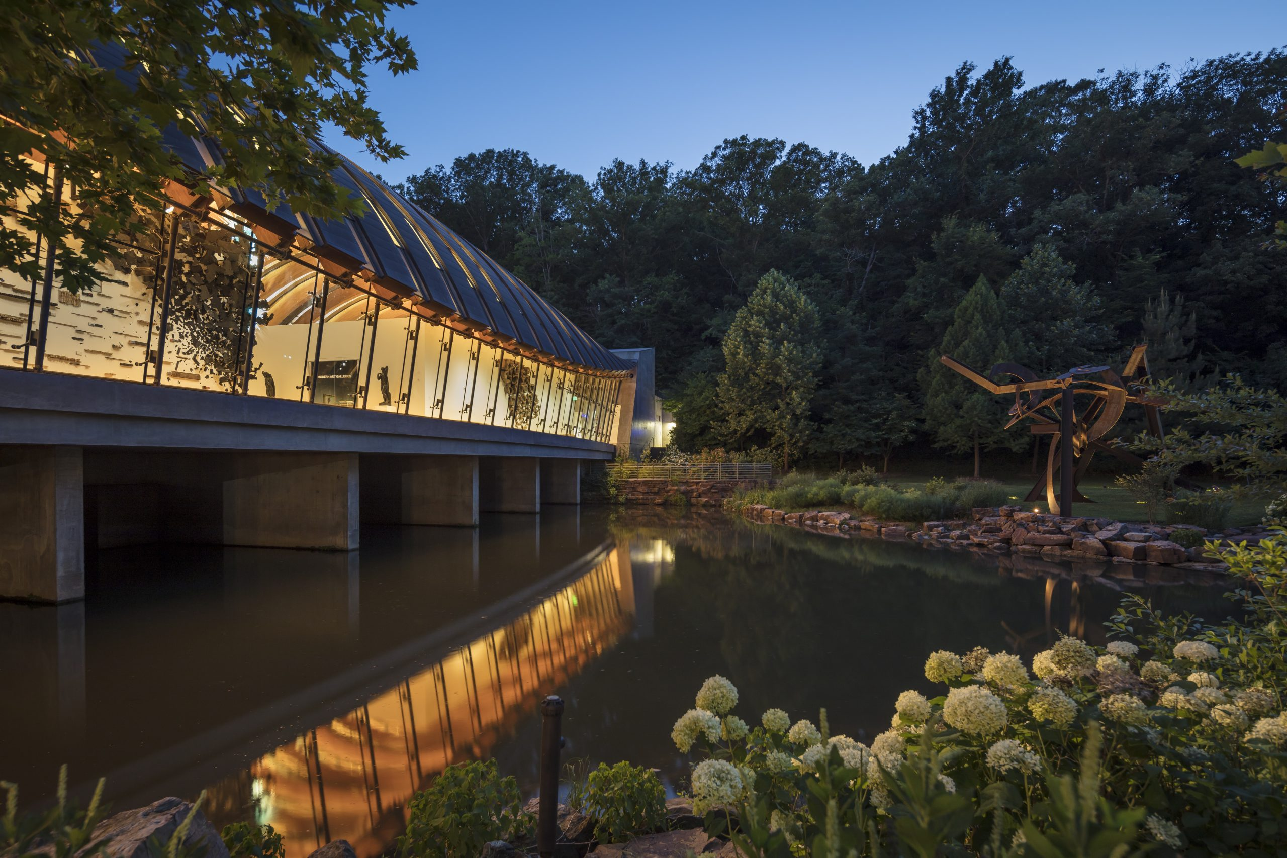 Crystal Bridges view from North Lawn